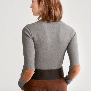 LAUREN Gray Elbow Patch Rib Knit Turtleneck Top